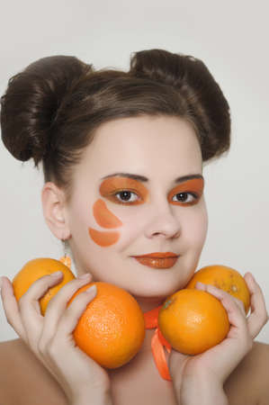 A creative beauty shot with oranges and matching makeup photo