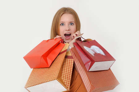 Young Woman on a Shopping Spree Stock Photo - 13679912