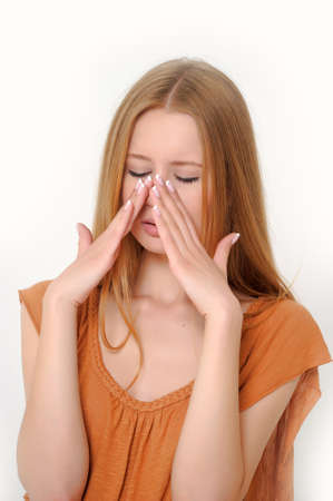 Pretty Woman Sneezing Stock Photo - 13664053