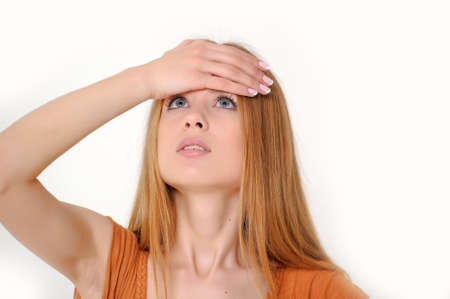 Young beautiful woman with headache and a flu Stock Photo - 13728468