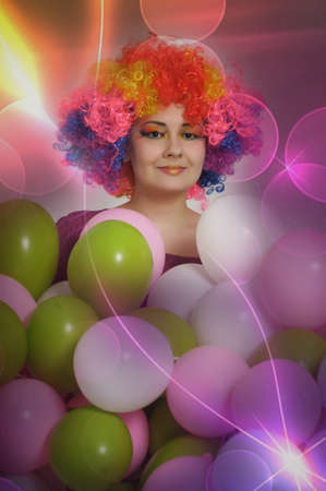 girl clown and balloons Stock Photo - 13683825