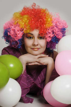 girl clown and balloons Stock Photo - 13683831