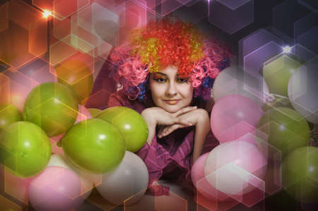 girl clown and balloons Stock Photo - 13683827