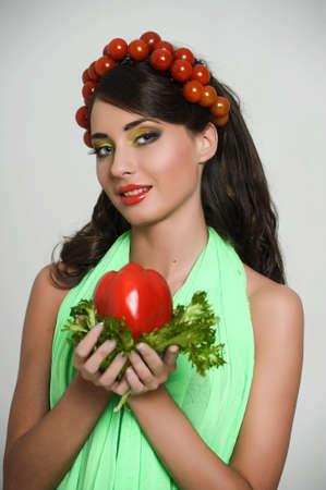 vegetable girl Stock Photo - 13836735