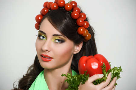 sa lat: vegetable girl Stock Photo