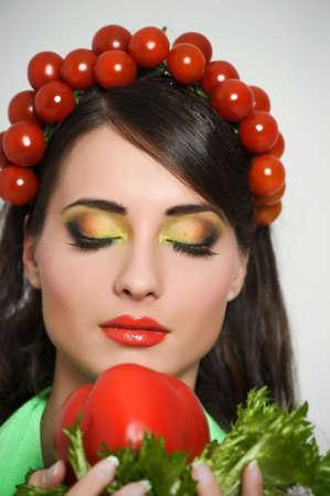 vegetable girl photo