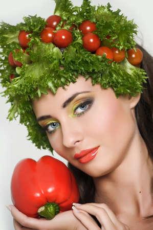 vegetable girl Stock Photo - 13834967