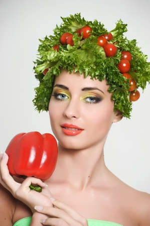 sa lat: vegetable girl Stock Photo