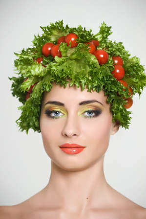 sprightly: vegetable girl Stock Photo