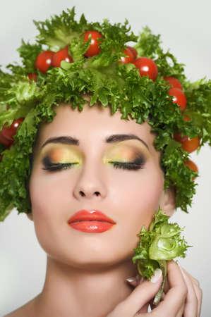 european food: vegetable girl Stock Photo