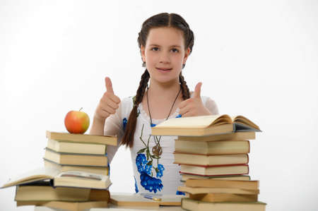 girl teenager and set of books photo