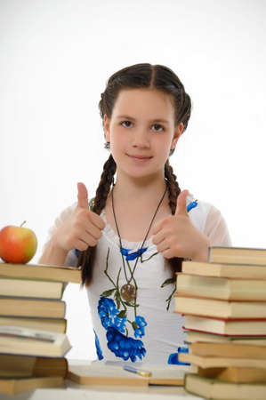 girl teenager and set of books Stock Photo - 13836081