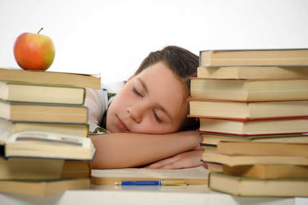 girl teenager and set of books Stock Photo - 13836041