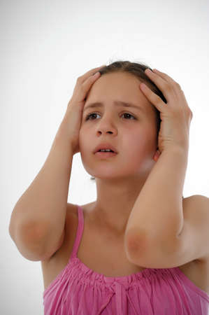 negative emotion: the girl the teenager holds the head