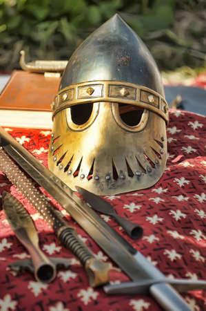 panoply: sword and helmet Stock Photo