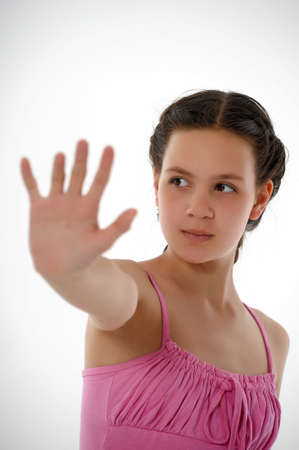 Girl showing her hand  photo