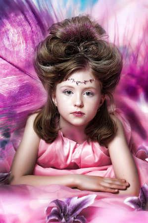 bridal hair: Beautiful little girl in princess dress