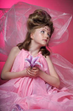 one trim: Beautiful little girl in princess dress