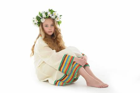 Beautiful Russian girl with a wreath Stock Photo - 14329672