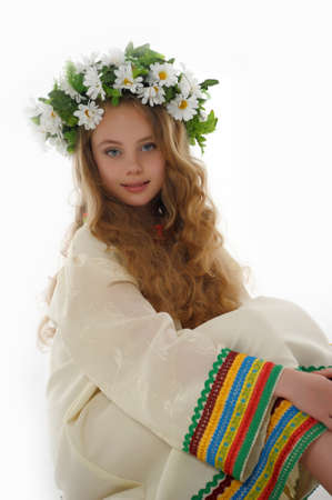 Beautiful Russian girl with a wreath Stock Photo - 14329678