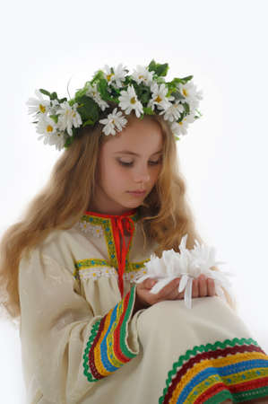 Beautiful Russian girl with a wreath Stock Photo - 14329628