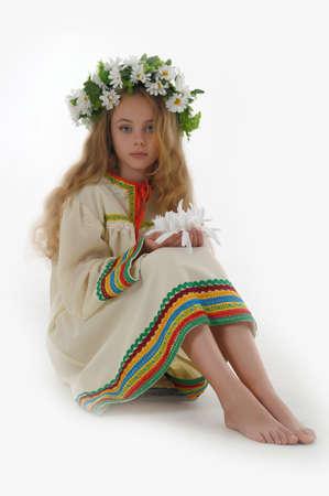 young teen girl nude: Beautiful Russian girl with a wreath