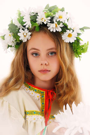 Beautiful Russian girl with a wreath Stock Photo - 14329646