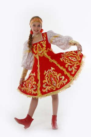 In het Russisch meisje Traditionele Kleding Stockfoto