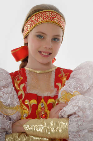 beautiful girl face: girl  In Russian Traditional Clothing