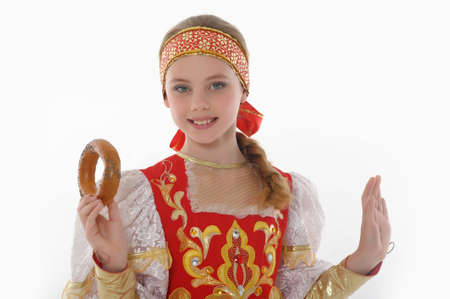 kokoshnik: girl  In Russian Traditional Clothing