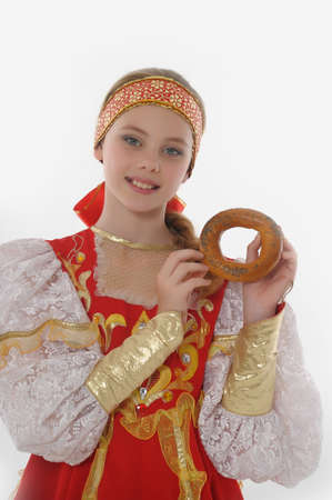 russian ethnicity caucasian: girl  In Russian Traditional Clothing