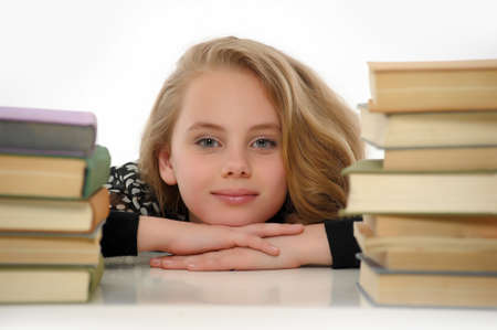 cute teen girl: female student with books