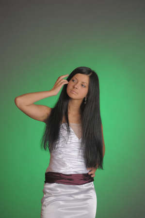 Young beauty with long hair photo