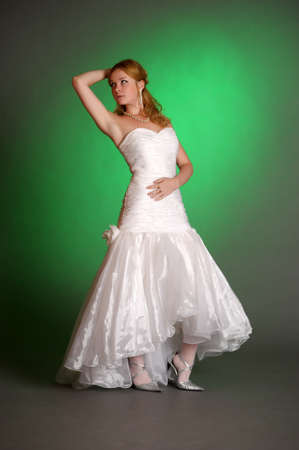blonde woman in a wedding dress in the Studio Stock Photo - 14559386