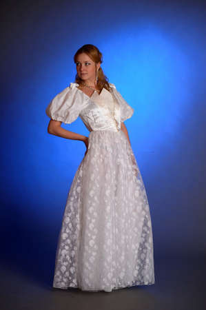 beautiful young woman in a wedding dress in the studio Stock Photo - 14293682