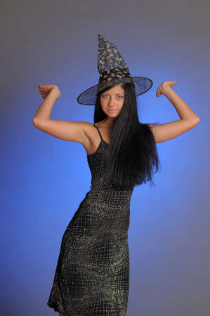 girl in a witch s hat photo