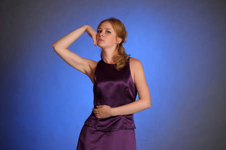 Stunning woman in purple dress  Stock Photo - 15109773