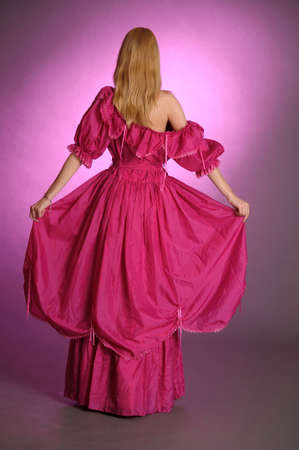 18th century style: the girl in an ancient pink dress Stock Photo