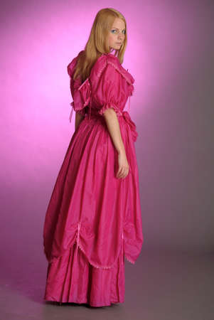 19th: the girl in an ancient pink dress Stock Photo