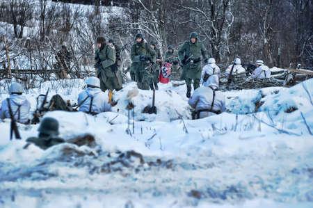 Reconstruction of a major military operation of the Leningrad Front - The January Thunder,  lifting of the blockade of Leningrad. Stock Photo - 14136769