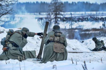 Reconstruction of a major military operation of the Leningrad Front - The January Thunder,  lifting of the blockade of Leningrad. Stock Photo - 14144999