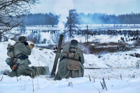 Reconstruction of a major military operation of the Leningrad Front - The January Thunder,  lifting of the blockade of Leningrad. Stock Photo - 14145019