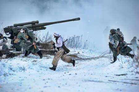 Reconstruction of a major military operation of the Leningrad Front - The January Thunder,  lifting of the blockade of Leningrad. Stock Photo - 14144990
