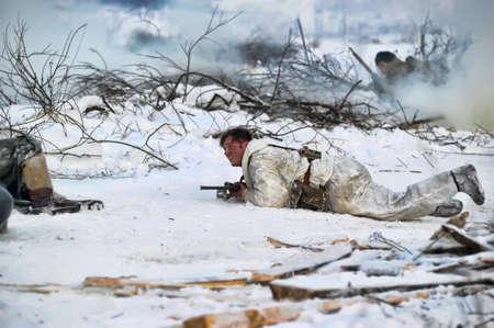 Reconstruction of a major military operation of the Leningrad Front - The January Thunder,  lifting of the blockade of Leningrad. Stock Photo - 14144993