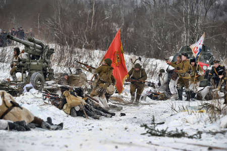 Reconstruction of a major military operation of the Leningrad Front - The January Thunder,  lifting of the blockade of Leningrad. Stock Photo - 14138529