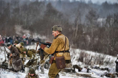 Reconstruction of a major military operation of the Leningrad Front - The January Thunder,  lifting of the blockade of Leningrad. Stock Photo - 14138460