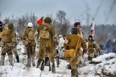 Reconstruction of a major military operation of the Leningrad Front - The January Thunder,  lifting of the blockade of Leningrad. Stock Photo - 14138496