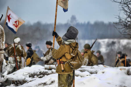 Reconstruction of a major military operation of the Leningrad Front - The January Thunder,  lifting of the blockade of Leningrad. Stock Photo - 14138453