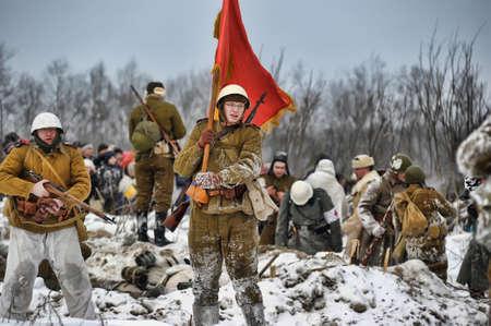 Reconstruction of a major military operation of the Leningrad Front - The January Thunder,  lifting of the blockade of Leningrad. Stock Photo - 14138509