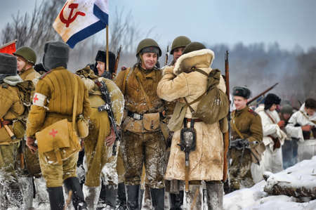 Reconstruction of a major military operation of the Leningrad Front - The January Thunder,  lifting of the blockade of Leningrad. Stock Photo - 14138525